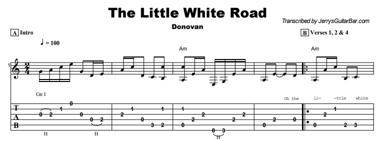 Donovan - The Little White Road Tab