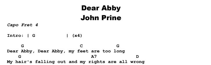 John Prine - Dear Abby Chords & Songsheet