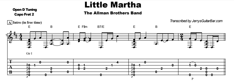 The Allman Brothers Band - Little Martha Tab