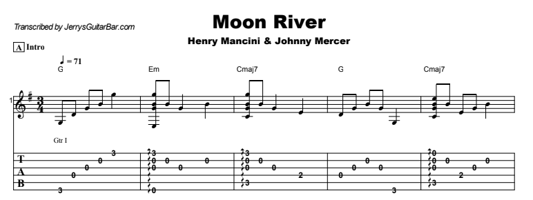 The Great American Songbook - Moon River Tab