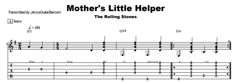 The Rolling Stones - Mother's Little Helper Tab