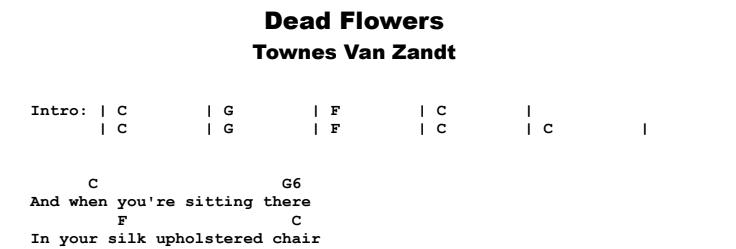 Townes Van Zandt - Dead Flowers Chords & Songsheet