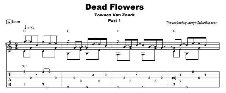 Townes Van Zandt - Dead Flowers Tab
