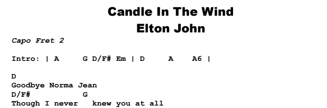 Elton John - Candle In The Wind Chords & Songsheet