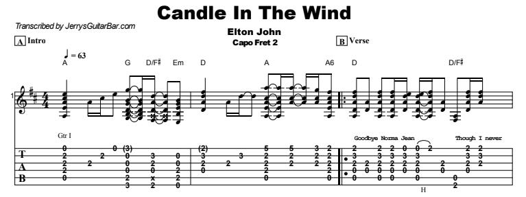 Elton John - Candle In The Wind Tab