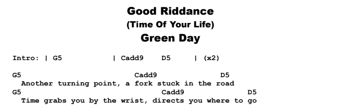 Green Day - Good Riddance (Time of Your Life) Chords & Songsheet