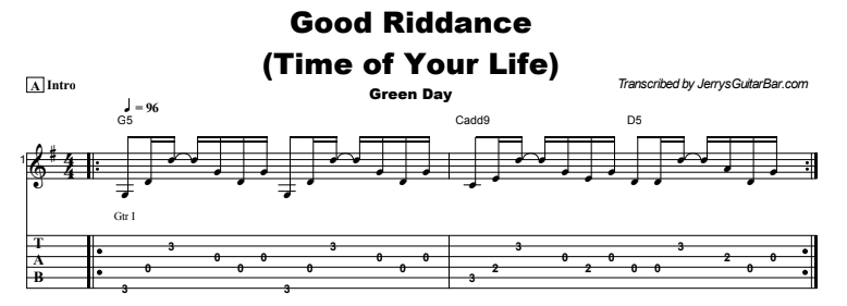 Green Day - Good Riddance (Time of Your Life) Tab