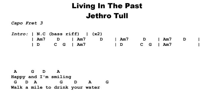 Jethro Tull - Living In The Past Chords & Songsheet