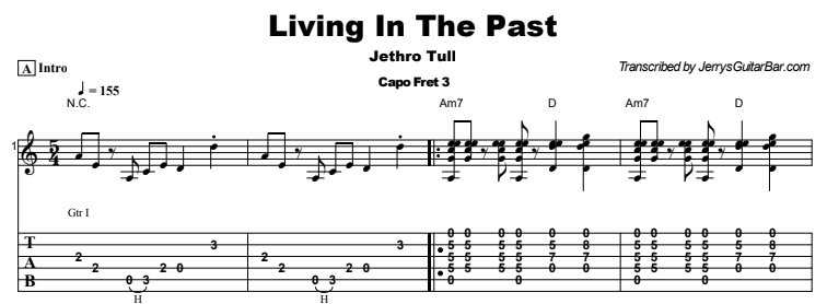 Jethro Tull - Living In The Past Tab