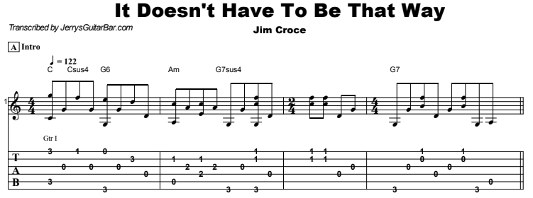 Jim Croce - It Doesn't Have To Be That Way Tab