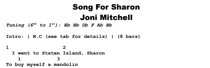 Joni Mitchell - Song For Sharon Chords & Songsheet