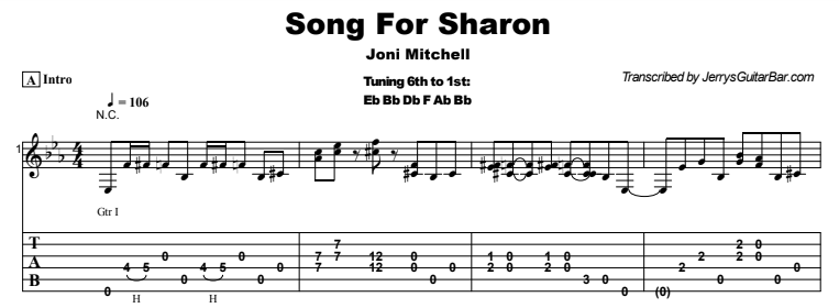 Joni Mitchell - Song For Sharon Tab