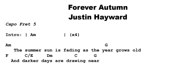 Justin Hayward - Forever Autumn Chords & Songsheet