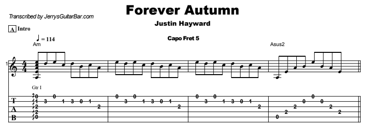 Justin Hayward - Forever Autumn Tab