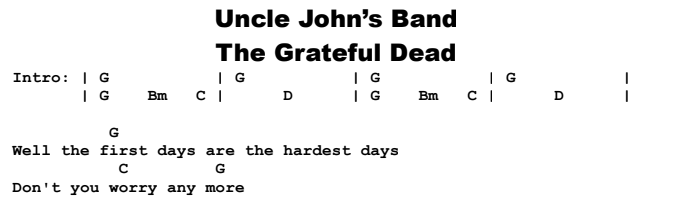 The Grateful Dead - Uncle John's Band Chords & Songsheet