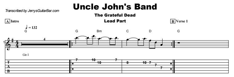 The Grateful Dead - Uncle John's Band Tab