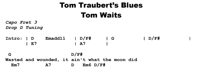 Tom Waits – Tom Traubert's Blues Chords & Songsheet