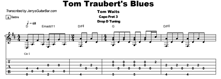 Tom Waits – Tom Traubert's Blues Tab