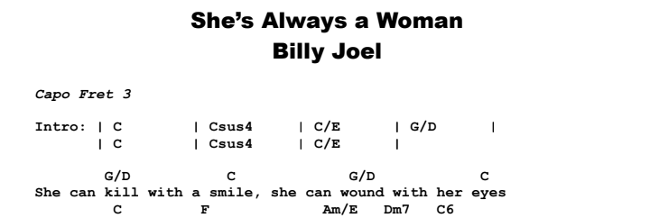 Billy Joel - She's Always a Woman Chords & Songsheet