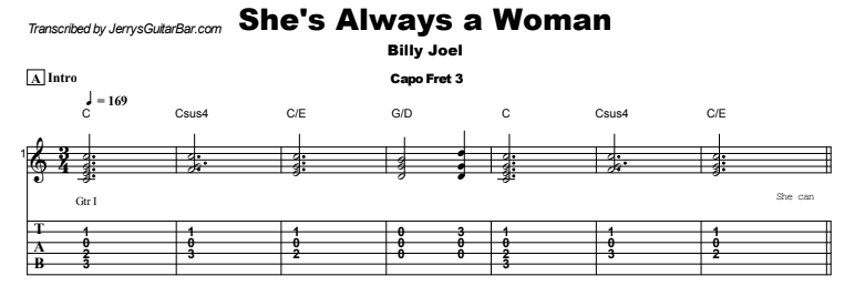 Billy Joel - She's Always a Woman Tab