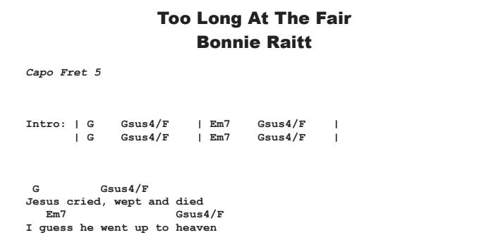 Bonnie Raitt - Too Long At The Fair Chords & Songsheet