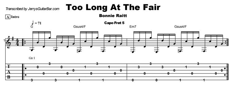 Bonnie Raitt - Too Long At The Fair Tab