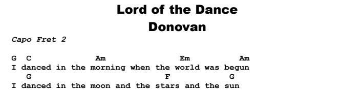 Donovan - Lord of the Dance Chords & Songsheet