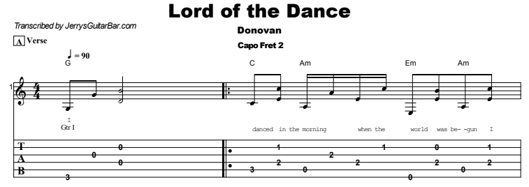 Donovan - Lord of the Dance Tab