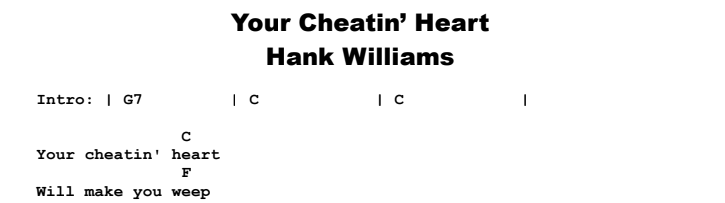 Hank Williams - Your Cheatin' Heart Chords & Songsheet