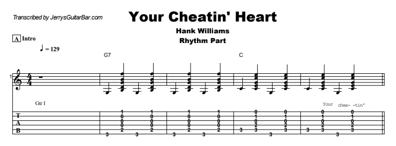 Hank Williams - Your Cheatin' Heart Tab