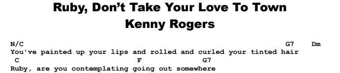 Kenny Rogers - Ruby, Don't Take Your Love To Town Chords & Songsheet