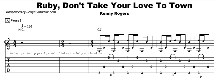 Kenny Rogers - Ruby, Don't Take Your Love To Town Tab