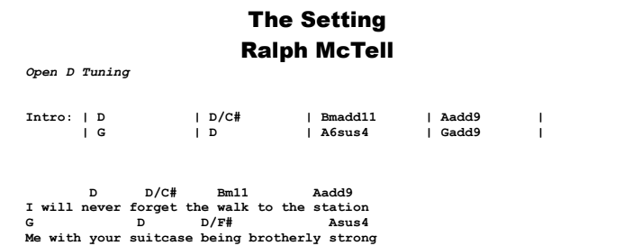 Ralph McTell - The Setting Songsheet