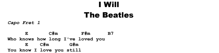Beatles - I Will Chords & Songsheet