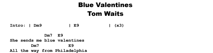 Tom Waits - Blue Valentines Chords & Songsheet