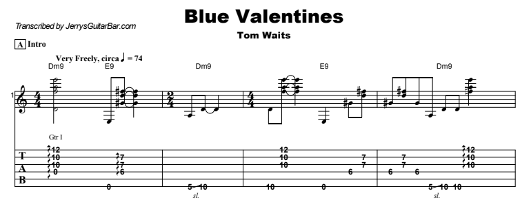 Tom Waits - Blue Valentines Tab