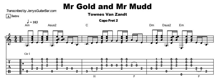 Townes Van Zandt - Mr Gold and Mr Mudd Tab