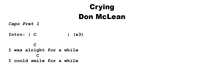 Don McLean - Crying  Chords & Songsheet