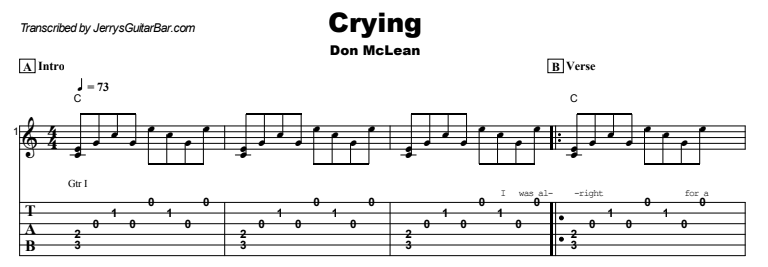 Don McLean - Crying  Tab