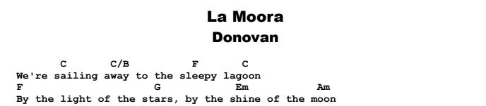 Donovan - La Moora  Chords & Songsheet