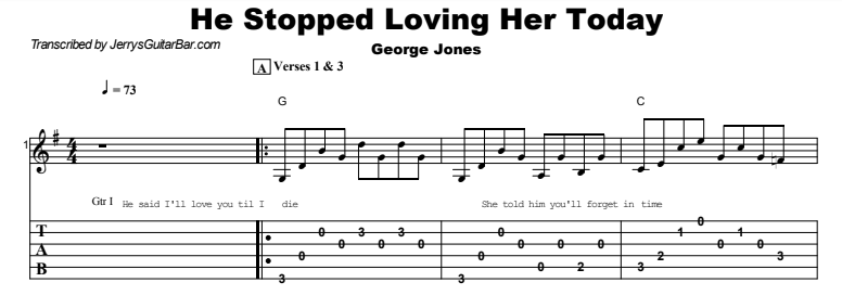 George Jones - He Stopped Loving Her Today Tab