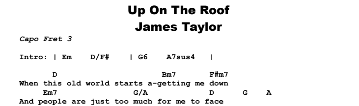 James Taylor - Up On The Roof  Chords & Songsheet