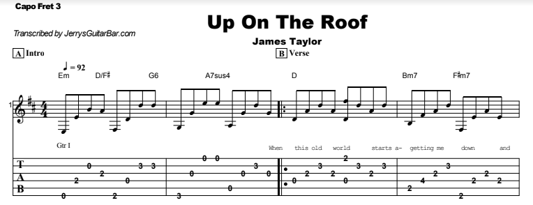 James Taylor - Up On The Roof Tab