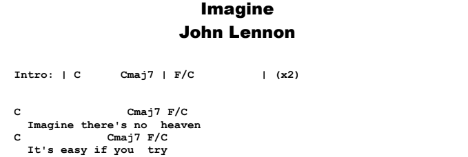 John Lennon - Imagine  Chords & Songsheet