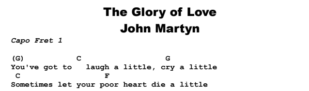 John Martyn - The Glory of Love Chords & Songsheet