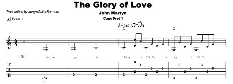 John Martyn - The Glory of Love Tab