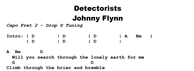 Johnny Flynn - Detectorists Chords & Songsheet