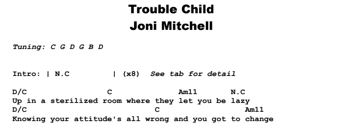 Joni Mitchell - Trouble Child Chords & Songsheet