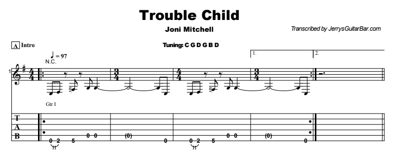 Joni Mitchell - Trouble Child Tab