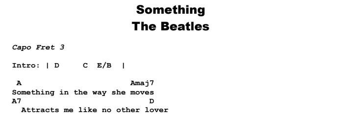 The Beatles - Something Chords & Songsheet